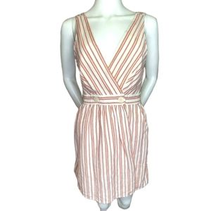 Zara Sleeveless V Neck Linen Blend Dress Size S